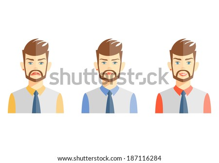 Vector illustrations of young bearded man expressing different emotions on white - stock vector