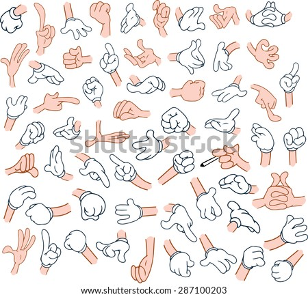 Vector illustrations pack of cartoon hands in various gestures.