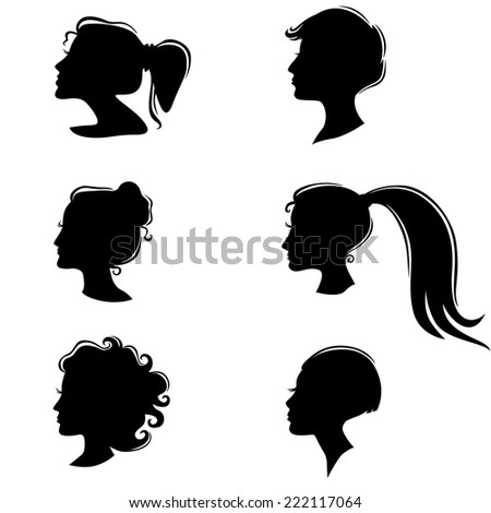 Vector illustrations set of silhouette of a beautiful girl with a hairstyle - stock vector