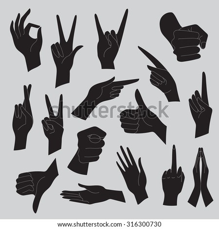Vector illustrations set of universal gestures of hands. Hands in different interpretations. Black silhouettes on a gray background.
