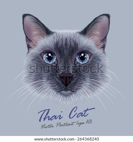 Vector Illustrative Portrait of a Thai Cat. Cute blue point Traditional Siamese Cat. - stock vector