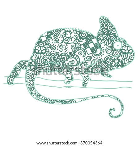 Vector illustraton of chamaleon with hand drawn pattern in ethnic style. Reptile isolated on white - stock vector