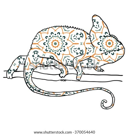 Vector illustraton of chamaleon with hand drawn pattern. Reptile isolated on white - stock vector