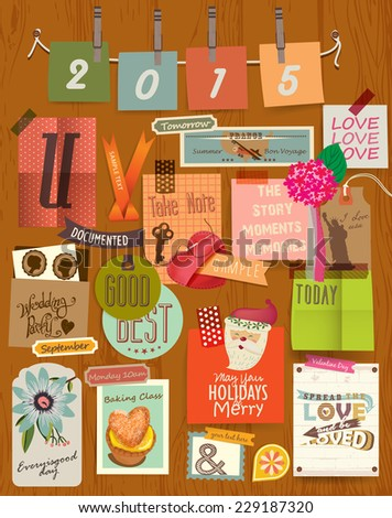 Vector Illustrator Elements Message board & Note board - stock vector