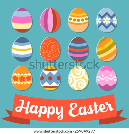 Vector illustrator for happy easter day set