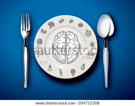 Vector illustrator of Brain food on plate with fork and spoon - stock vector