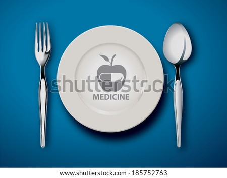 Vector illustrator of Empty plate isolated on a blue background, food is medicine concept