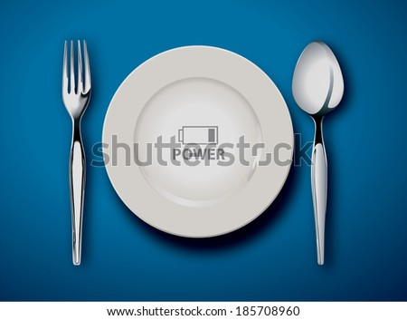 Vector illustrator of Empty plate isolated on a white background, food is power concept