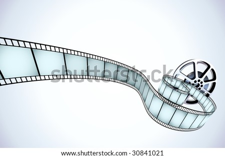 Vector illustrator of movie reel with a strip of exposed frames - stock vector