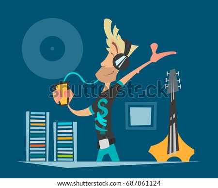 Vector illustrator of young music fan listening music