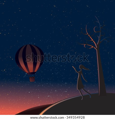 Vector illustrator the little girl waving hand in the dark night with the star balloon - stock vector
