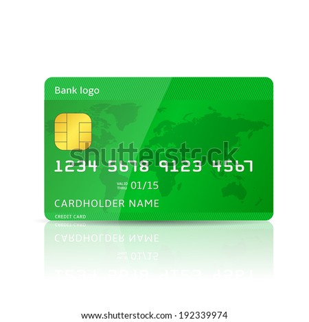 Vector illustrtion of realistic plastic card, credit, debit