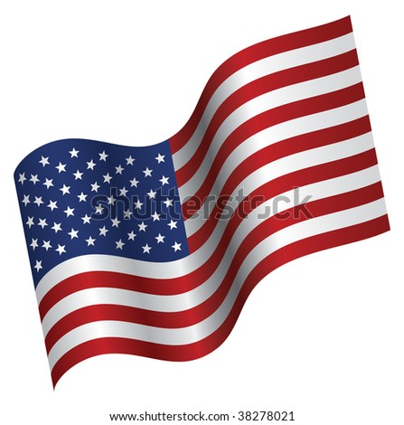 Vector Illuustration of American Flag proudly waving