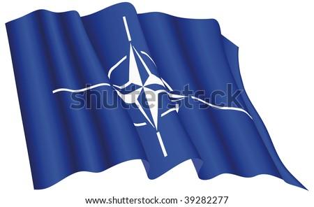 Vector Illuustration of NATO Flag proudly waving - stock vector
