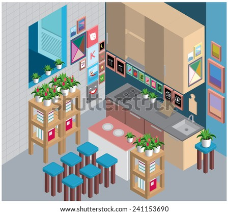 vector ilustration isometric colorful kitchen set - stock vector