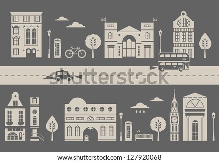Vector ilustration of a cute slylized street - stock vector