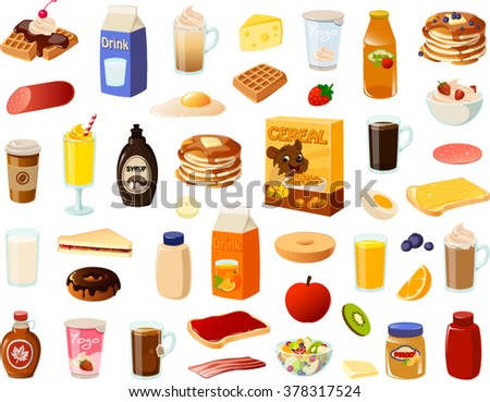 Vector ilustration of various breakfast items. - stock vector