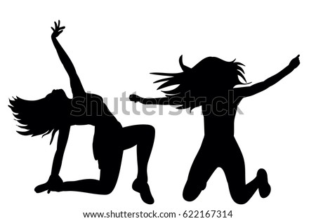 vector ilustustria silhouette of beautiful girl dancing