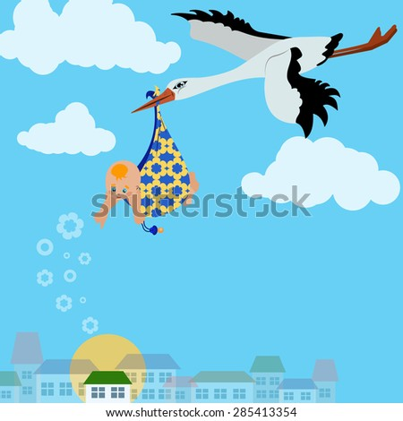 Vector image. A stork is flying with a baby in the sky over the city - stock vector