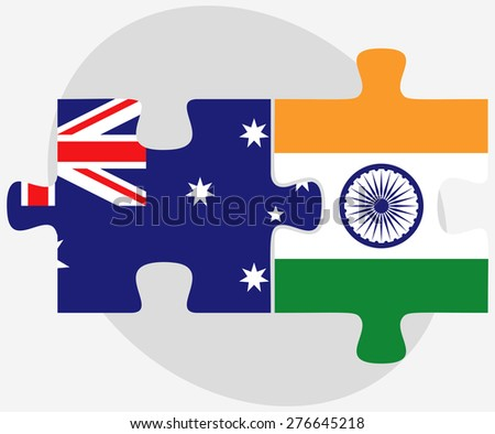 Vector Image - Australia and India Flags in puzzle isolated on white background - stock vector