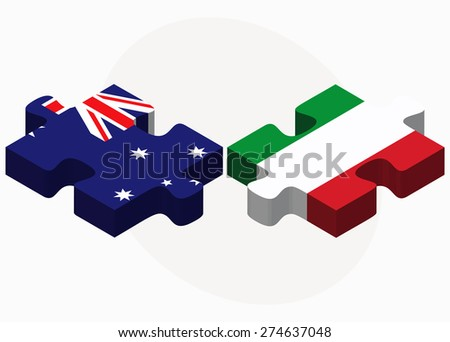 Vector Image - Australia and Italy Flags in puzzle isolated on white background - stock vector