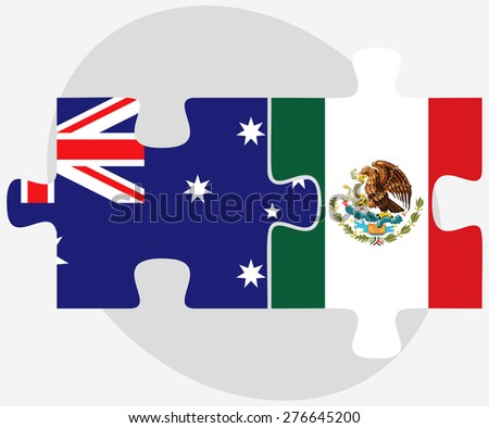 Vector Image - Australia and Mexico Flags in puzzle isolated on white background - stock vector