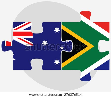 Vector Image - Australia and South Africa Flags in puzzle isolated on white background - stock vector