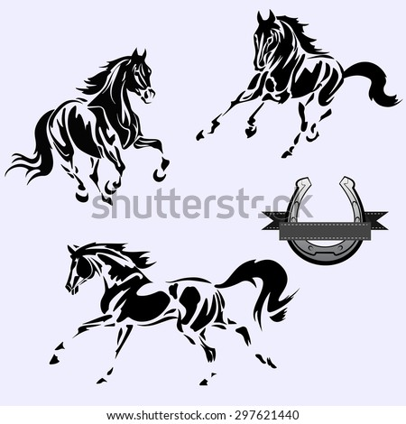 Vector image. Black and white horse on a grey background - stock vector