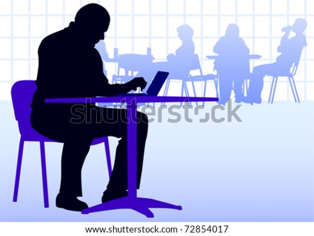 Vector image businessman with a laptop at a table in a cafe - stock vector