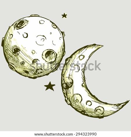 Vector image cartoon moon - stock vector