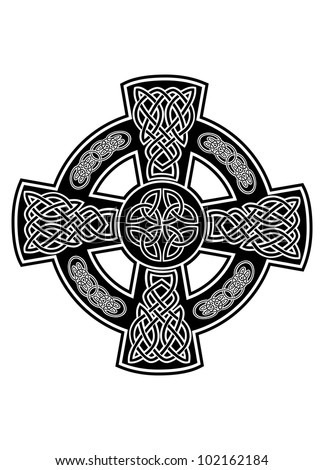 Vector image Celtic cross with patterns - stock vector