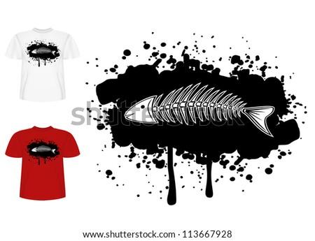 Vector image design of T-short  skeleton of fish - stock vector