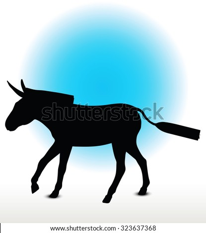 Vector Image, donkey silhouette, in canter pose, isolated on white background  - stock vector