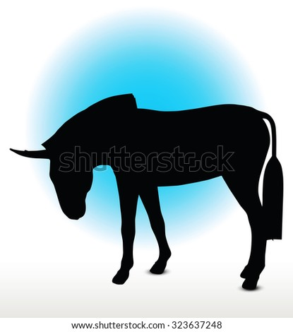 Vector Image, donkey silhouette, in look down pose, isolated on white background  - stock vector
