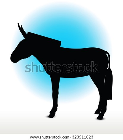 Vector Image, donkey silhouette, in standing pose, isolated on white background