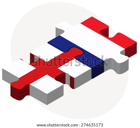 Vector Image - England and France Flags in puzzle isolated on white background