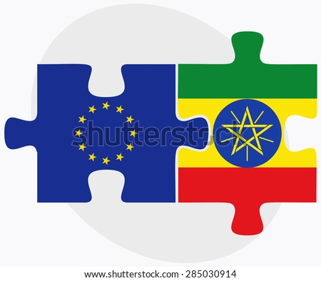 Vector Image - European Union and Ethiopia Flags in puzzle isolated on white background - stock vector