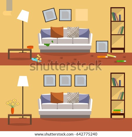 Vector Image Flat Design Interior Room Before Cleaning And After