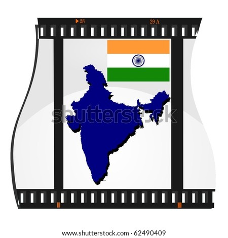 vector image footage with a map of India - stock vector