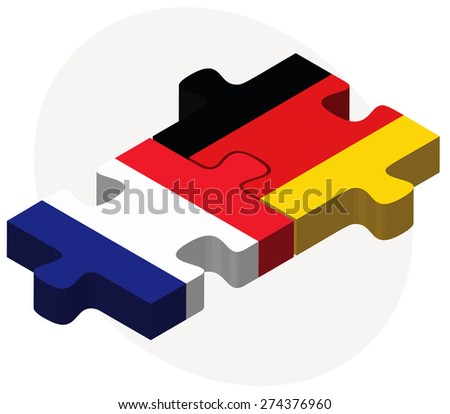 Vector Image - France and Germany Flags in puzzle isolated on white background - stock vector