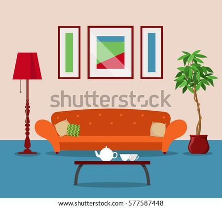 Room Living Interior Design With Furniture Flat