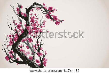 Vector image in Japanese style. Blooming bright red flowers of the tree branch - stock vector