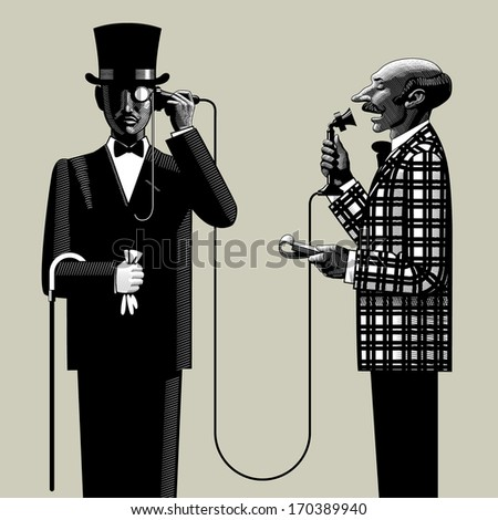 Vector image in the style of vintage engraving of two men of business in retro suits connected with the retro phone - stock vector