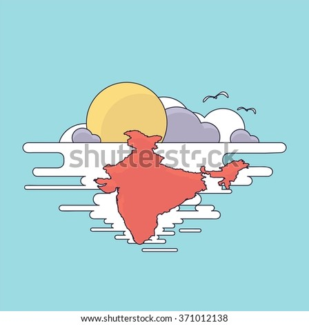 Vector image India. Flat figure. Country in the sky and the sun - stock vector