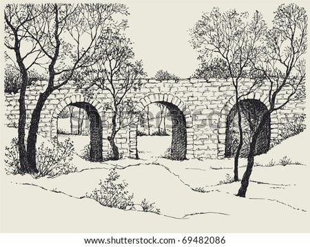 Vector image. Landscape sketch of an old stone bridge in the trees on the hills - stock vector