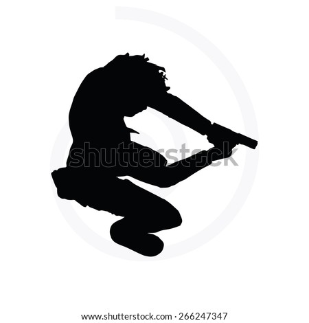 Vector Image - man with a gun pointing silhouette isolated on white background