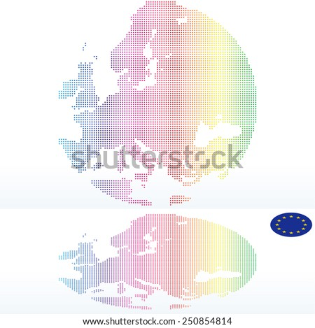 Vector Image -  Map of Continent of Europe with with Dot Pattern - stock vector