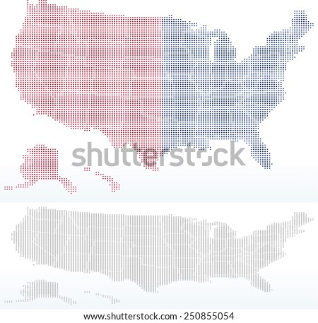 Vector Image -  Map of United States of America with with Dot Pattern - stock vector