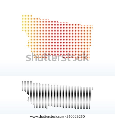 Vector Image - Map of USA Montana State with Dot Pattern - stock vector