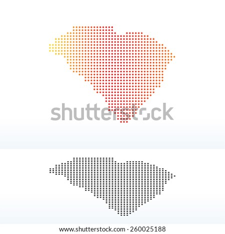 Vector Image - Map of USA South Carolina State with Dot Pattern - stock vector